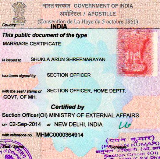 Marriage Certificate Apostille  in Hubli